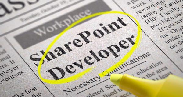 Share Point Developer Vacancy in Newspaper. Job Seeking Concept.